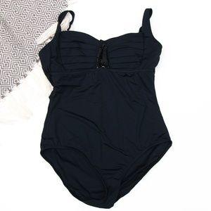 Badgley Mischka   Black Beaded 1-PC Swimsuit
